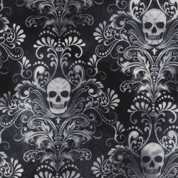 Baumwollstoff Timeless Treasure Charcoal Wicked  Skull Damask