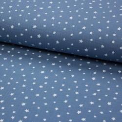 Stoff Musselin Double Gauze Sterne jeansblau