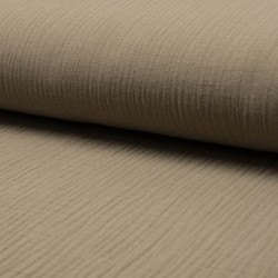Stoff Musselin Double Gauze Sterne UNI taupe