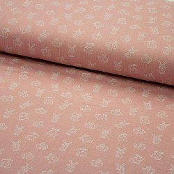 Stoff Musselin Double Gauze little Friends - Hasen rosa