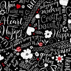 Baumwollstoff Timeless Treasure Happy Scribble Words
