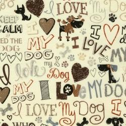 Baumwollstoff Timeless Treasure I Love My Dog - creme