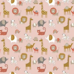 BIO Baumwolle Popeline Safari Friends rosa