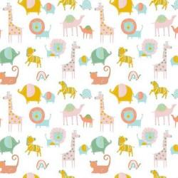 BIO Baumwolle Popeline Safari Friends weiß