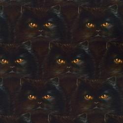 Baumwollstoff Robert Kaufman - by Andrew Farley from Whiskers & Tails Katzen schwarz