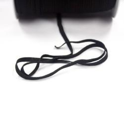 Gummiband 5mm flach gestrickt - weich - 5m am Stück - schwarz