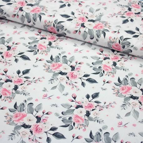 Stoff Baumwebware Popeline Subina - Rosen auf weiß