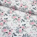 Stoff Baumwolle Popeline Subina - Rosen auf weiß