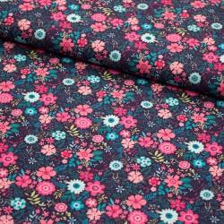 Stoff Baumwebware Blumen auf dunkelblau