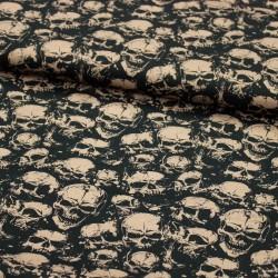 Stoff Baumwolle / Webware KIM Skull schwarz beige