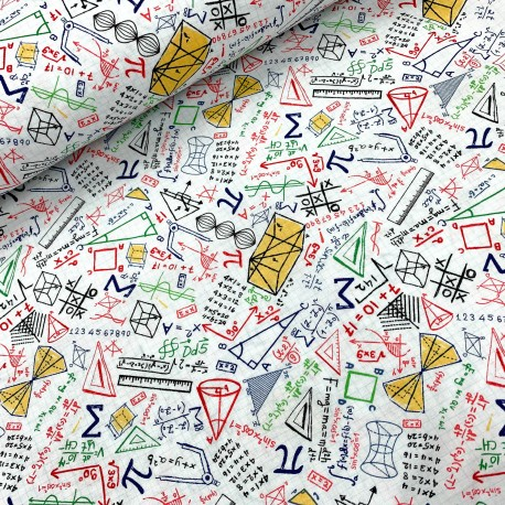 Baumwollstoff Timeless Treasure Colorful Math Doodles on Grid