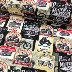 Baumwollstoff Timeless Treasure Packed Vintage Motorcycle multi