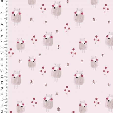 Baumwoll-Jersey Toff Bär rosa