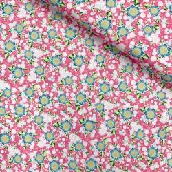 Stoff Baumwolle Flower Parade Blumen pink
