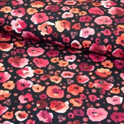 BIO Baumwoll-Jersey Digital Poppies schwarz
