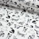 Baumwollstoff Timeless Treasure Sketched Realistic Cats weiß