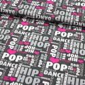 Baumwollstoff Music Vibe - Hip Hop - anthrazit pink