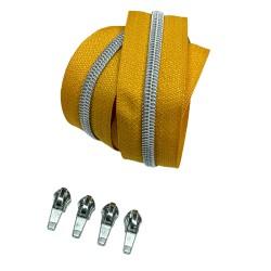 Silber metallisierter Reißverschluss - inklusive 4 Zipper - senf