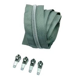 Silber metallisierter Reißverschluss - inklusive 4 Zipper - grau