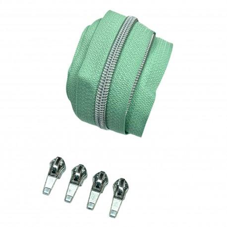Silber metallisierter Reißverschluss - inklusive 4 Zipper - mint