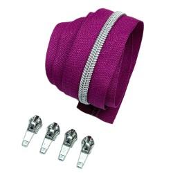 Silber metallisierter Reißverschluss - inklusive 4 Zipper - fuchsia