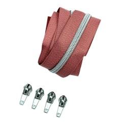 Silber metallisierter Reißverschluss - inklusive 4 Zipper - altrosa