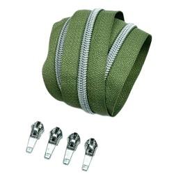 Silber metallisierter Reißverschluss - inklusive 4 Zipper - army
