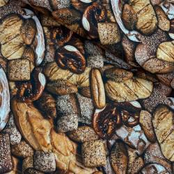 Baumwollstoff Popeline Digital - Brot Brötchen Brezel