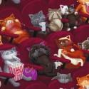 Baumwollstoff Timeless Treasure  Scaredy Cats Katzen Kino