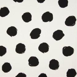 Viscose Druck weiß schwarz mit großen Punkten