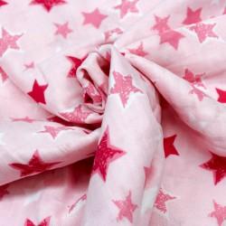 Stoff Musselin Double Gauze Sterne rosa