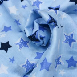 Stoff Musselin Double Gauze Sterne blau