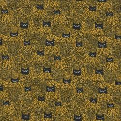 Baumwolljersey Vicente grimmige Katze senf