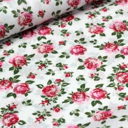 Beschichtete Baumwolle Rosen auf weiß
