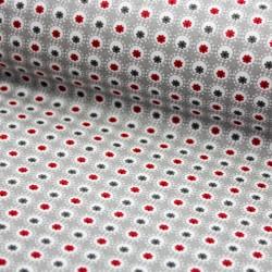 Stoff Baumwolle beschichtet Luna hellgrau rot mit Punkten