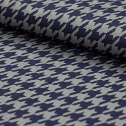 Strick Stoff Sara by Swafing Hahnentritt dunkelblau auf grau