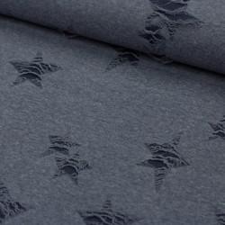Stoff Fashionstoff in Ausbrenneroptik Sterne jeansblau