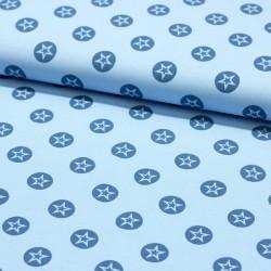 Stoff Baumwolljersey Stern im Kreis hellblau