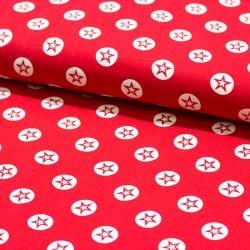 Stoff Baumwolljersey Stern im Kreis rot