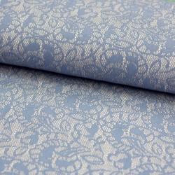 Stoff Spitzen Sweat Laura grau blau