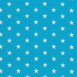 Stoff Baumwolle kleine Sterne türkis