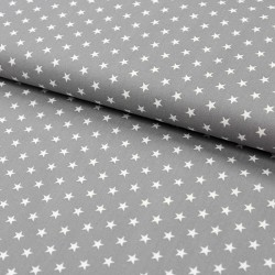Stoff Baumwolle kleine Sterne grau