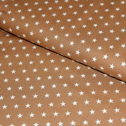 Stoff Baumwolle kleine Sterne hellbraun