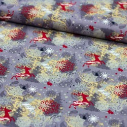 Stoff Baumwolle Rentiere Schneeflocken