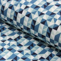 Softshell Stoff Mosaik blau