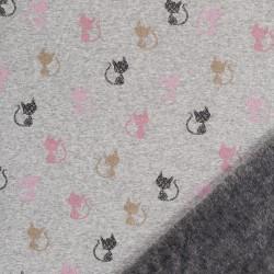 Alpenfleece Tirol grau meliert Katzen beige rosa