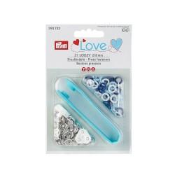 Prym Love Druckknöpfe Jersey, 8mm, blau/hellblau/weiß