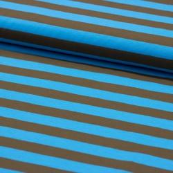 Stoff Baumwolljersey Ringel Streifen Gilda türkis braun