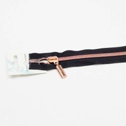 Reißverschluss teilbar 50cm / 5mm Schiene schwarz kupfer