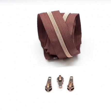Kupfer metallisierte Reißverschluss braun, inklusive 3 Zipper